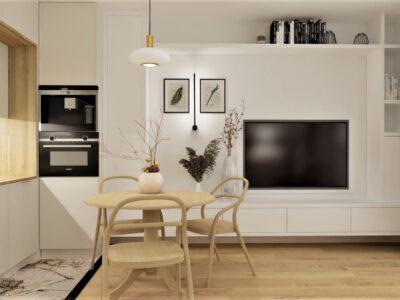 Złoto-biała lampa Sagunto w projekcie mieszkania na wynajem o podwyższonym standardzie