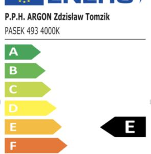 Ważne informacje odnośnie etykiet energetycznych, bazy EPREL oraz opraw oświetleniowych ARGON  ze źródłem światła LED